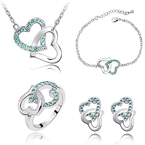 Janly Clearance Sale Womens Bracelets , Crystal Heart Chain Necklace Earring Jewelry Set Women's Gift, Jewelry & Watches for Christmas Valentine's Day (Sky Blue)