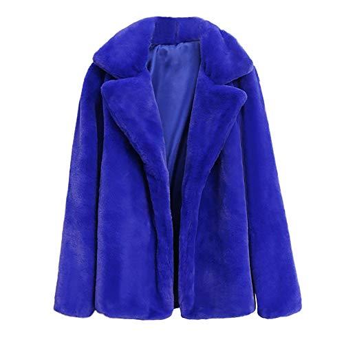 Fur Jacket Damen MYMYG Elegant Wollmantel Strickjacken Wintermantel Faux Pelzmantel Warme Kunstpelz Jacke Pelzjacke Kurzmantel Einfarbig Fell Winterjacke Fleecejacke Parkas(Blau,EU:40/CN-XL)