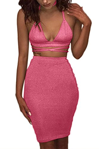 ioiom Juniors Two Piece Outfits for Women Fall 2017 Sequin Romper Skirt Set Rosy Medium