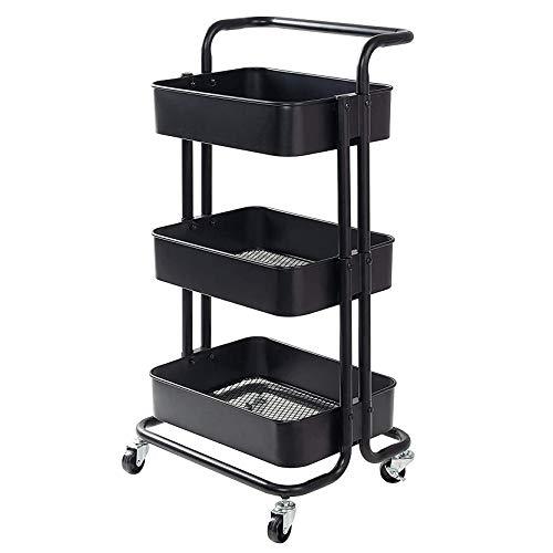 Carros De Almacenamiento 3 Niveles, Organizador Multiusos con Ruedas, Rodante Metal para Baño, Cocina, Dormitorio 45×35×85cm(Color:Negro)