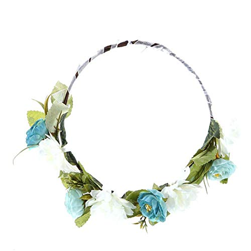 Sanwood KüNstliche Blumenband Kranz Girlande Krone Braut Stirnband Haarschmuck Blau