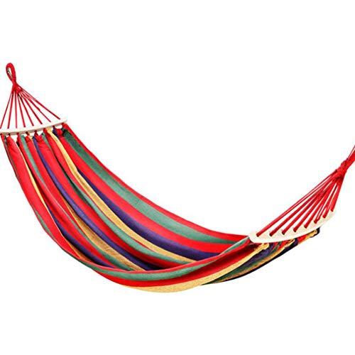 #N/A Qihang Hamaca al aire libre, para colgar en la cama, suministros de jardín para uso en la playa, palo curvado doble rayas rojas, 280 x 150