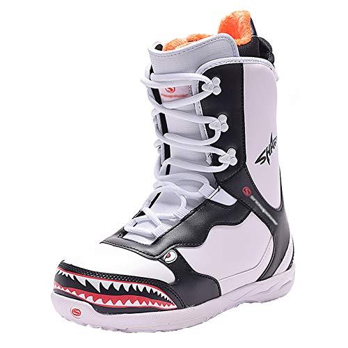 XZZ Snowboardstiefel Snowboard Boot, Snowboardschuhe, Herren Skischuhe, Damen Skischuhe, Schnürsystem, 35-43, Weiß/Grau