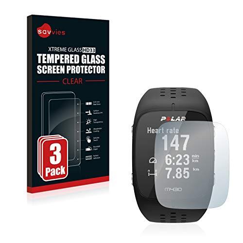 savvies Cristal Templado Compatible con Polar M430 (3 Unidades) Protector Pantalla Vidrio Proteccion 9H Pelicula Anti-Huellas
