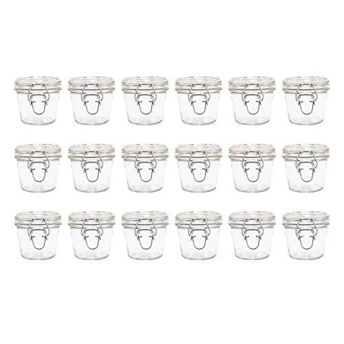 LM-Kreativ 18 x Einmachglas mit Bügelverschluss (100 ml) Vorratsglas ideal für Kaffee, Gewürze, Tee, Marmelade oder zur Aufbewahrung von Kleinteilen