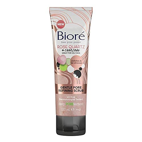 Biore Rose Quartz and Charcoal Gentle Pore Refining Face Scrub for Oily Skin, 110 ml