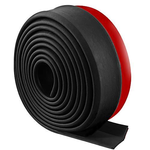 Rovtop Protector de Parachoques - Para Pegar el Parachoques del Coche, Labio de parachoques, Tiras Adhesivas de Goma, Clips de Nylon (Negro)