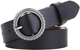 SGJFZD New Fashionable Round Buckle Leather Leather Wild Fashion Jeans Leather Retro Ladies Belt (Color : Black, Size : 95-120cm)
