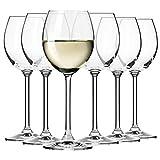 Krosno Bicchieri Calice Vino Bianco | Set di 6 | 250 ML | Collezione Venezia | Ideale per la Casa, Ristorante Feste e Ricevimenti | Adatto alla Lavastoviglie e al Forno a Microonde