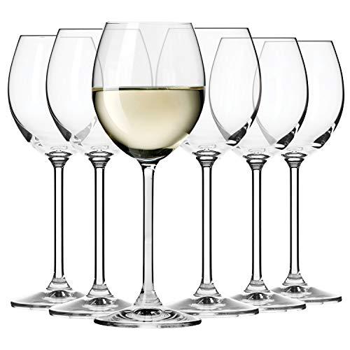 Krosno Weiß-Weinglas | Set von 6 | 250 ML | Venezia Kollektion | Perfekt für Zuhause, Restaurants und Partys | Spülmaschinenfest