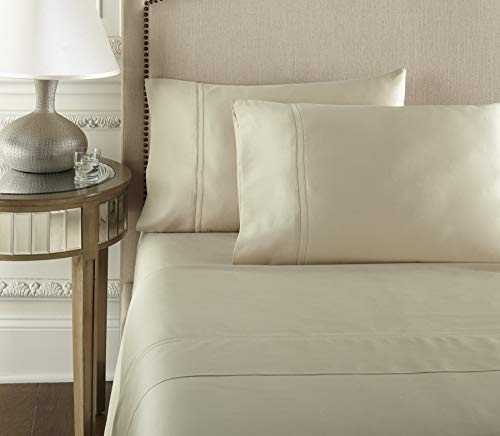 Pure Parima Luxury 100% CEA Certified Egyptian Cotton Sheet Bed Set | Extra-Long Staple | Cool, Breathable, Ultra Comfort | Double Hem-Stitched | Flat, Fitted, and 1 Pillowcase (Tan, Twin)