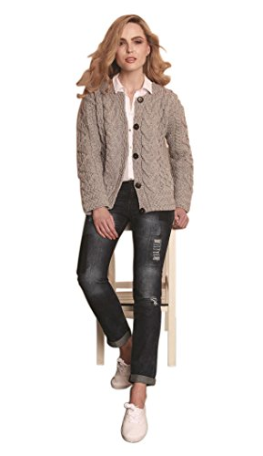 Carraig Donn - Cárdigan para mujer (100% lana merina) Marrón Mimbre. XXL