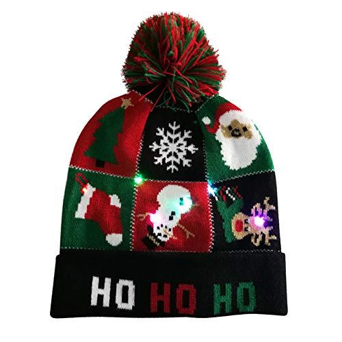 Gpure Gorros De Punto Navidad con Luz LED Mujer Hombre 2020 Invierno Fiesta Cumpleaños Sombrero Tejido Brillante Pareja Regalo Anime Dibujos De árbol De Navidad Accesorios De Ropa (Negro)