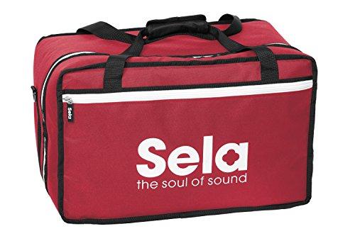 Sela SE 038 Cajon Tasche Red, Hochwertige Nylontasche für Cajons mit Rucksackfunktion und Seitenfach