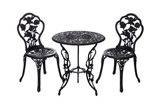 Alta calidad aufwendig gearbeitetes Bistro Mesa Set, 15240/C1 547 Estable Juego de muebles de jardín, balcón, Bistro Set, aluminio fundido revestido,