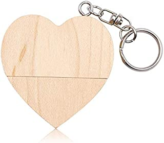 QGT USB Flash Drives 8GB USB 2.0 Wood Couple Heart Shape U Disk(Walnut Wood) (Material : Wood Color)