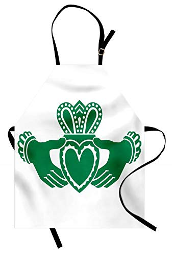 Lunarable Claddagh Apron, Silhouette Style Hands Holding a Heart with Crown Celtic Folklore Composition, Unisex Kitchen Bib Apron with Adjustable Neck for Cooking Baking Gardening, Green and White