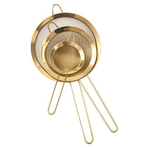 Tamkyo 3 Piezas de Acero Inoxidable Colador de Aceite de Malla Fina Tamiz de Harina Filtro de Malla de Café Herramientas para Hornear Utensilios de Cocina, Dorado