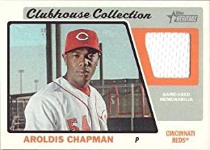 2015 Topps Heritage Clubhouse Collection Relics #CCR-AC Aroldis Chapman Game Worn Jersey Baseball Card - Near Mint to Mint