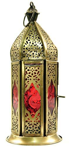 Guru-Shop Oriëntaalse Messing/glazen Lantaarn in Marokkaans Design, Vintage Lantaarn, Rood, Kleur: Rood, 22x8x8 cm, Oosterse Lantaarns