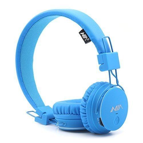Kids Wireless Bluetooth 4.2 Headphones, GranVela X2 Lightweight Retro Foldable Multifunction Headphones with FM Radio, TF Card Mp3 Player and Microphone,3.5mm Jack (Blue)