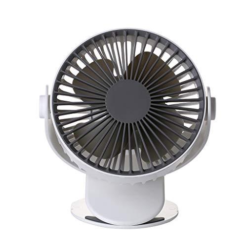 SHE.White Mini USB Dritter Gang Tischventilator wiederaufladbar Ventilator zum Anklipsen Clip Fan mit 360°drehbare leise für Schlafzimmer Büro Kinderwagen Auto Schlafzimmer Elektrolüfter