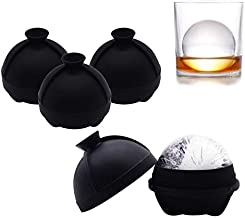 Helpcook Ice Ball Molds 4 Pack - Silicone Sphere Ice Molds with Built-in Funnel - Ice Ball Maker Makes 2.5 Inch Slow-Melting Ice Balls for Whiskey and Cocktails - Reusable and BPA Free