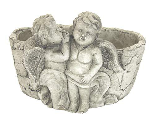 DARO DEKO Steingut Pflanztopf mit Engelpaar Antikweiß