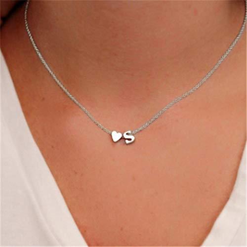 Yienate Collar de moda melocotón corazón en forma de letra S para mujer y niñas (plateado)