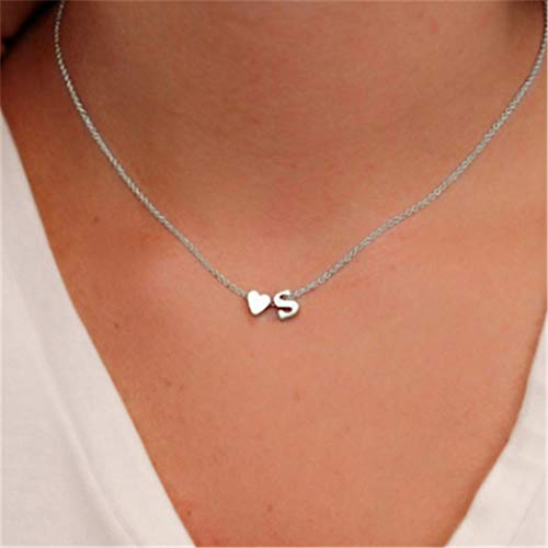 TseenYi - Collana con ciondolo a forma di lettera S, stile semplice, a forma di cuore, per donne e ragazze, colore: argento
