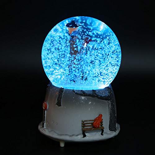 Tianhaik Bola de Nieve Musical de Invierno con Luz de Noche Haz Que Acompañes Todo El Camino Regalo de Decoración de Adorno de Escritorio Romántico para Cumpleaños de Navidad