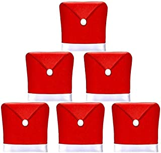 AMFOCUS Christmas Dining Chair Covers, Christmas Decoration Santa Hat Chair Back Covers Xams Chair Covers Caps Slipcovers ...