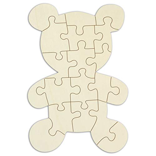"""Kopierladen Holzpuzzle blanko Teddybär selbst verzieren, leeres Puzzle """"Teddy"""" aus Holz mit 19 Teilen, inkl. Puzzlevorlage, ca. 29 x 19,5 cm"""