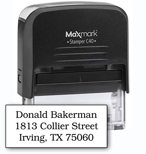 MaxMark Large Size - 3-Line Custom Self Inking Stamp - w/ 5-Year Warranty