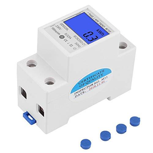Medidor de energía LCD, 5-32A 230V 50Hz Medidor de vatios de pantalla de retroiluminación digital, Montaje en carril DIN monofásico KWh Meter DDS528L-230V