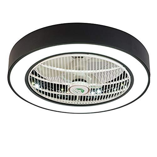 Moderne zwarte plafond ventilator met verlichting 36W LED dimbaar met afstandsbediening plafondlamp round rustig indoor plafondverlichting slaapkamer woonkamer eetkamer, φ55CM