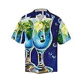 INTERESTPRINT Men's Casual Button Down Short Sleeve Watercolor Wine Bottle Hawaiian Shirt XXXL