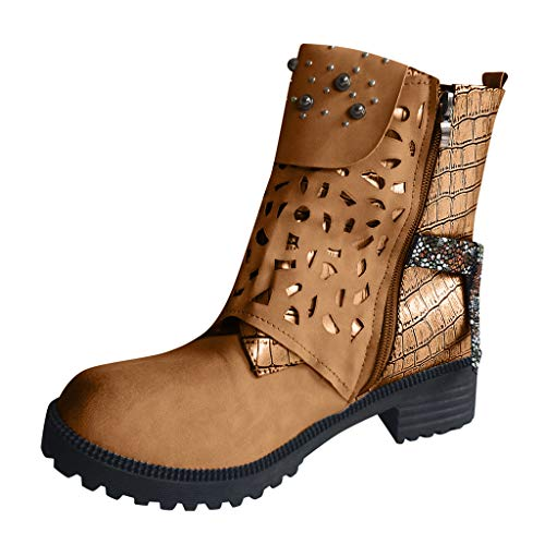 Check Out This Women's Western Ankle Boots | Round Toe Low-Heeled Cowboy Booties for Ladies Fashio...