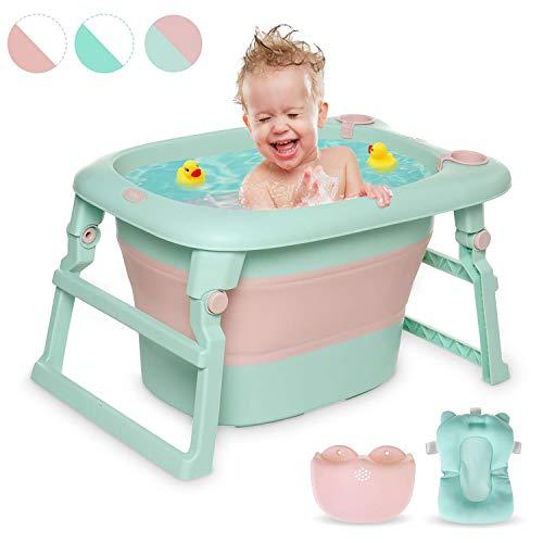 Blcnk Chi Bañera Plegable de Bebe con Cojín, bebé, 0-36 Meses, bañera de bebé en el Fregadero, sin BPA - Cómoda bañera de Ducha de bebé, Malla para Sentarse para recién Nacido, Green Pink