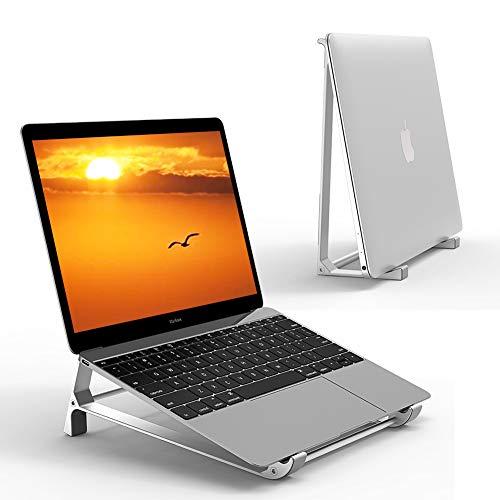 Supmega Laptop-Ständer für Schreibtisch, 2-in-1-Design, Aluminium, vertikaler Ständer, kompatibel mit MacBook Air Pro, Surface, Dell XPS und anderen 10-17 Zoll Laptops