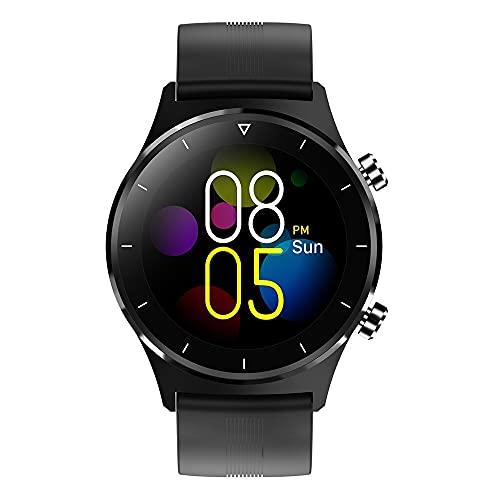 ZRSJ Newest Fitness Smart Watch Men Sports SmartWatch Pedómetro Pantalla táctil Redonda Reloj de Pulsera Bluetooth para y Android(Negro Silica)