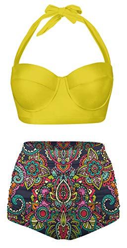 Angerella Womens Classic Geometric Print Swimwear Halter Bikini Push up High Waisted Swimsuits,2XL-39