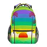 Verano Sunset Playa Rainbow Sky Escuela Mochila de gran capacidad de lona Mochila Satchel Casual Viaje Daypack para Niños Adultos Adolescentes Mujeres Hombres