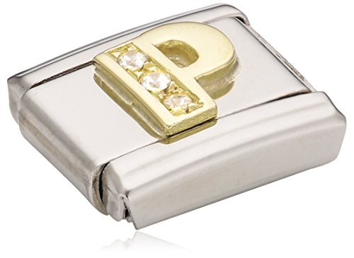 Nomination Composable Classic P Letter Stainless Steel, K Gold and Cubic Zirconium