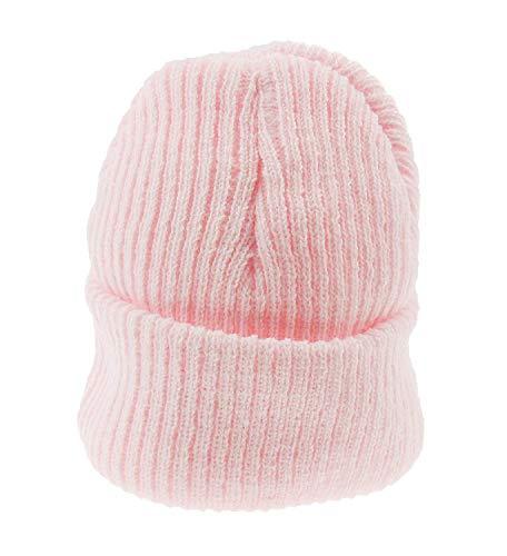 Bébé Fille Garçon chaud Hiver côtelé en tricot côtelé Bonnet - Rose - taille unique