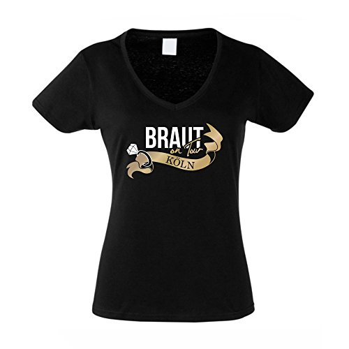 Damen T-Shirt V-Neck - Braut on Tour - Köln JGA schwarz-Gold XL