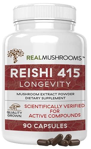 Real Mushrooms Reishi Mushroom Capsules for Longevity (90ct) Vegan, Non-GMO Reishi Extract, Reishi Mushroom Supplement for Relaxation, Better Sleep, Overall Wellness, Also Safe for Pets