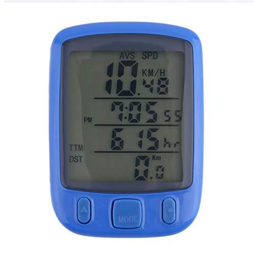 YDL SUNDING SD-563B Fahrradcomputer Wasserfestes Radsport-Kilometerzähler Mit Grüner LCD-Hintergrundbeleuchtung Fahrradcomputer (Color : Blue)