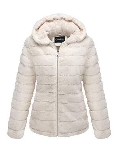 Giolshon Chaqueta de piel de oveja sintética para mujer con capucha, abrigo largo