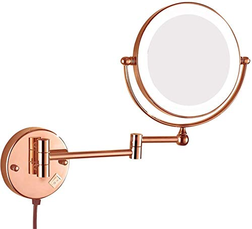 L&B-MR Makeup Mirror Makeup Mirrors 8 Inches Cosmetic Magnifying Double Sided Shaving Extended Folding Rotated Mirror with Plug Shaving in Bedroom or Bathroom (Size : 5X)